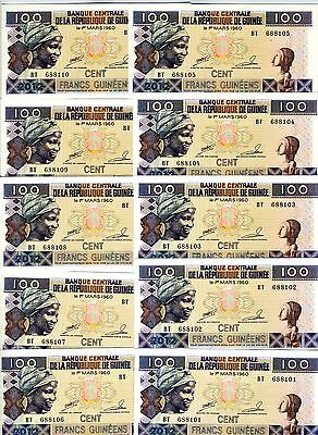 LOT, Guinea, 20 x 100 Francs, 2012, P-New, UNC > Replaced by reduced size issue