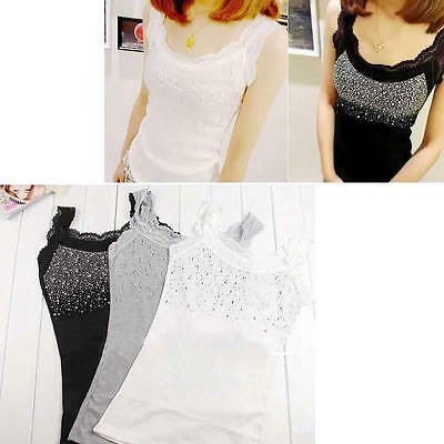 Fashion Womens Elegant Lace Collar Bling Tank Tops Vest Sleeveless New T-shirt