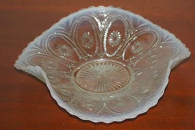 "8 1/4"" OPALESCENT FENTON SWIRLED BOWL PLATE WITH LOTS OF FIRE"