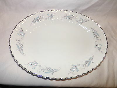J & G Meakin English Classic White Blue Burlington Oval Serving Plate England