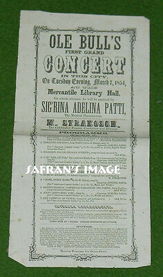 RARE 1854 Opera CONCERT POSTER Broadside Mercantile Library Hall St Louis L@@K