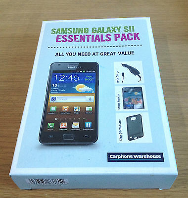 Samsung Galaxy S2 II Kit Pack Car Charger Screen Protector Black Silicone Case