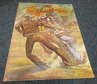 "Levi Jeans Poster Tug Of War Advertisement "" Saddleman Boots Jeans "" **"
