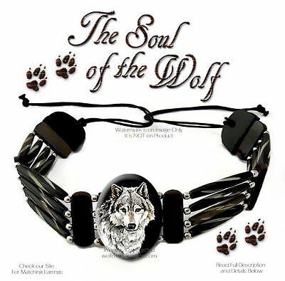 Soul Of The Wolf Carved Bone Choker Bead Leather Necklace Wolves Art Gift Sale *