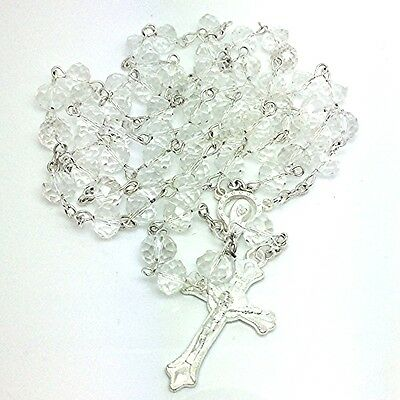 BRIDAL Silver CRYSTAL Glass ROSARY BEADS w/ORNATE Crucifix for BRIDE Bridesmaids