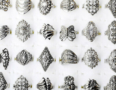 Newest 20X Wholesale Lots Jewellery Mixed Vintage Hollow Style Silver Tone Rings