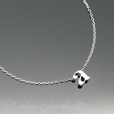 Tiny Letter Small Initial Alphabet Pendant Chain Sterling Silver Plated Necklace