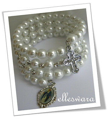 BRIDAL Glass PEARL Rhinestones ROSARY BRACELET Silver Medal+ CZ Cross GIFT Boxed