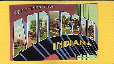 Large Letter Greetings from ANDERSON,Indiana IN Tiech 3B-H433 bit art deco