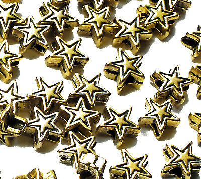 50 x Gold Plated Mini Star Beads Spacer 6mm Metal Star Jewellery Christmas Craft