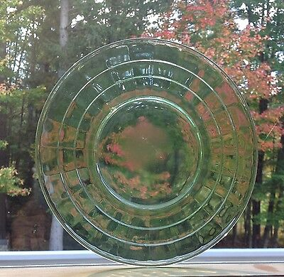 "VINTAGE HOCKING  BLOCK OPTIC GLASS LUNCHEON PLATE GREEN DEPRESSION  8"" Uranium"