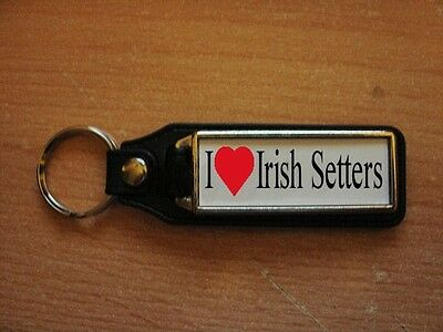 I Love Irish Setter Leather Style Keyring