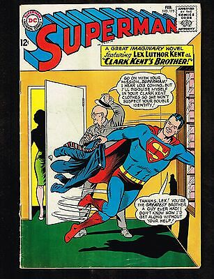 """Superman #175 ~ 1965  """"Clark Kent's Brother!"""" ~ (VG/FN) WH"""