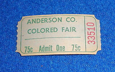 Vintage Black Americana Anderson Co Colored Fair Ticket Stub