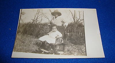 Vintage Black Americana RPPC Mother and Baby