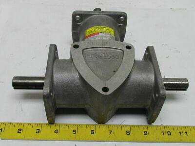 Boston Right Angle Spiral-Bevel Gear Drive Gearbox 2:1 Ratio 1.83Hp Dual Output