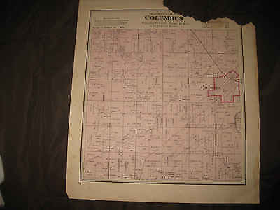 Antique 1873 Columbus Township Columbia County Wisconsin Handcolored Map Rare Nr