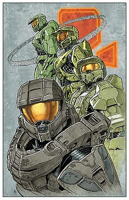 HALO 1 2 3 4 COLOR PRINT signed by Steve Kurth 11x17 LOW NUMBER MASTER CHIEF