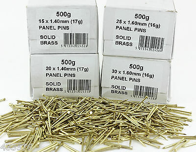 Solid BRASS PANEL PINS 15 20 25 30 & 40 MM Long