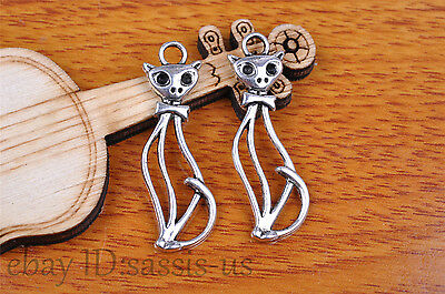 10pcs 34*11mm Charm cate cat pendant Diy Jewelry For Bracelet Tibet Silver 7128