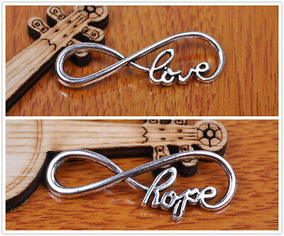 10/100pcs 39*14mm Charm love hope infinity pendant Diy Jewelry Bead For Bracelet