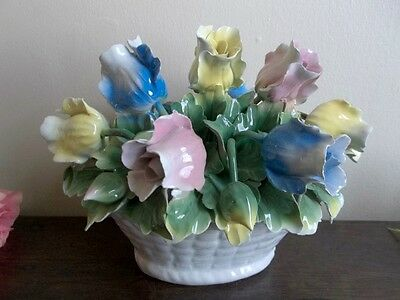 Vtg large hand painted porcelain flower bouquet basket.Spring.made in Italy