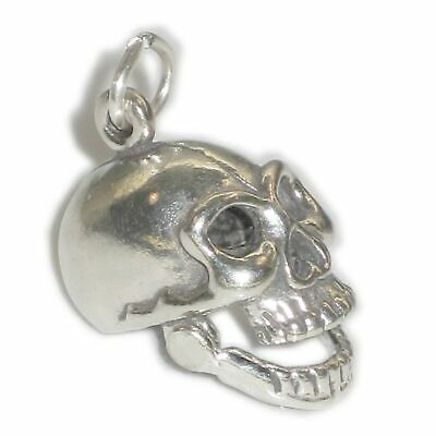 Human skull sterling silver charm with movable mouth .925 x 1 charms SSLP1076