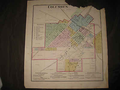 Antique 1873 Columbus Columbia County Wisconsin Handcolored Map Rare Nr