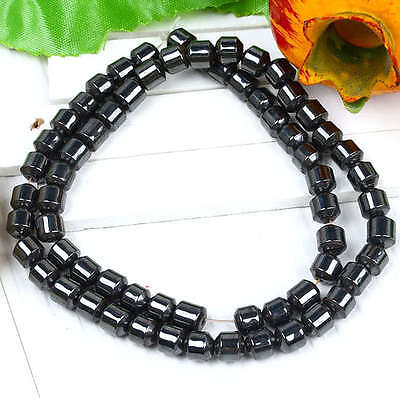 "1Strand 6mm Black Magnetic Hematite Column Loose Beads 16""L Jewelry Gift"