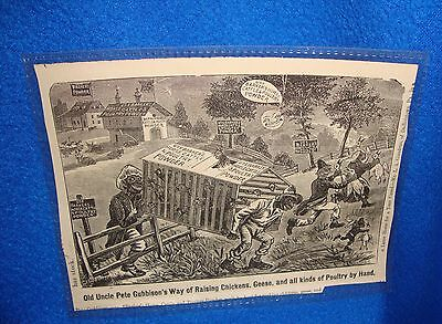 Vintage Black Americana Uncle Pete Gubbison's Chickens Cartoon