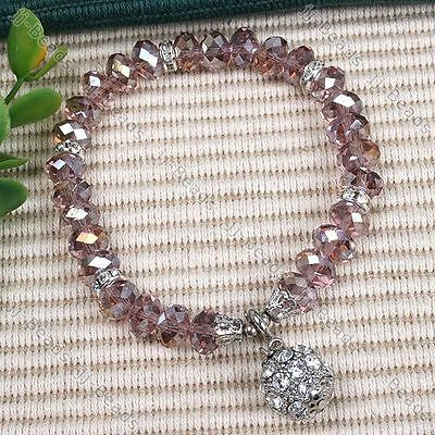 1pc Faceted Crystal Glass Rondelle Bead Dangle Ball Women Lady Bracelet Jewelry