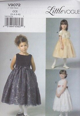 ab825e42f98 Vogue Sewing Pattern Children s Girls Lined Party Dress sizes 3 4 5 6 7 8