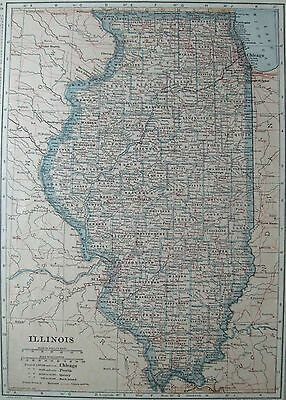 1920 Antique ILLINOIS Map VINTAGE State Map of Illinois Pretty PASTEL COLORS