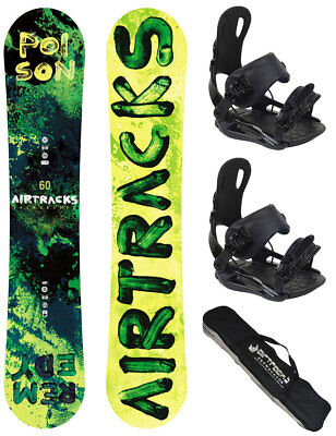 Snowboard Set AIRTRACKS Poison Wide Rocker+Bindung+SB Bag+Pad /150 155 160 cm/