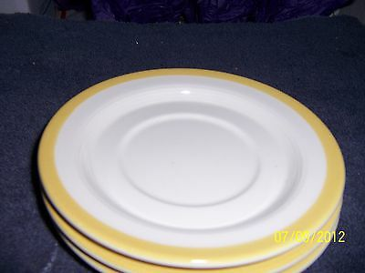 Homer Laughlin 4 Saucers White with Yellow Ring