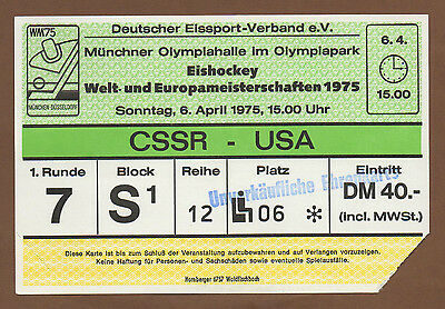 Orig.Ticket   Icehockey World Championship`s Germany 1975   CZECHOSLOVAKIA - USA