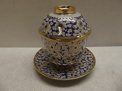 CHINESE COVERED TEA CUP BOWL COBALT BLUE W/ GOLD TRIM