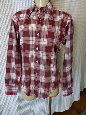 70s Boys wine plaid cottonblend shirt sz 18 40 chest