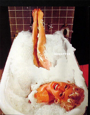 Marilyn Monroe 2-Sided Vintage Pin-Up Poster Nude Bubble Bath & Sleeping In Bed