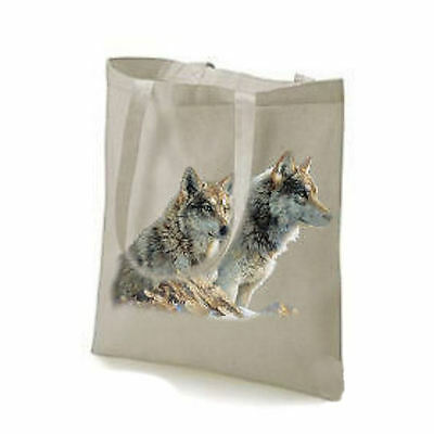 2 Wolf / Wolves Design Printed Tote Shopping Bag 11724  Wild Animals