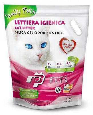 Lettiera Pet Professional Gatti Gatto Lt.9 Kg.4 Family Pack Silicio Naturale Pz4