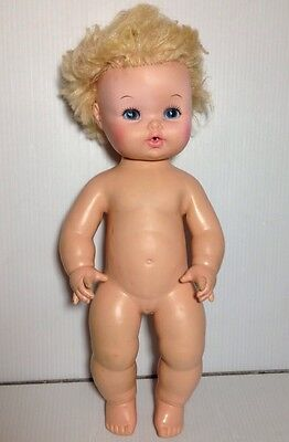 """1971 Vintage Antique 15"""" Eegee Baby Doll Drinks And Wets Softina Dublon Blonde"""