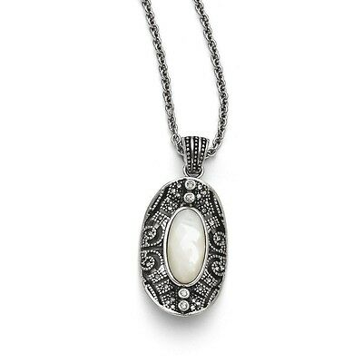"""Chisel Stainless Steel Mother of Pearl and Crystal Antiqued Pendant Necklace 20"""""""