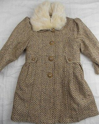 3-4y fit 4y + COUCHE TOT girls traditional brown wool blend winter long coat