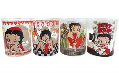 Betty Boop Assorted Images Set of Four 12 oz Drinking Glasses, NEW UNUSED BOXED