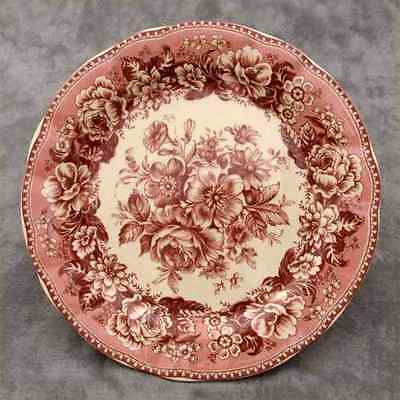 "RED & CREAM TRANSFERWARE FLORAL COUNTRY TOILE PLATE ~ 10"" ~"