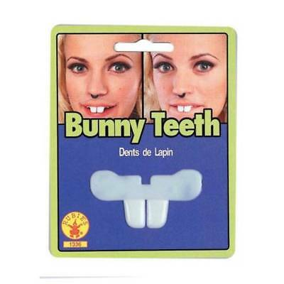Womens Adult White Easter Bunny Costume Front Buck Teeth Accessory