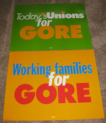 2000 Unions & Working Families For Gore Campaign Poster