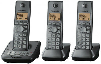 Panasonic Dect 6.0 Triple Handset Cordless Phone Answer Eco Mode Kx-Tg2723
