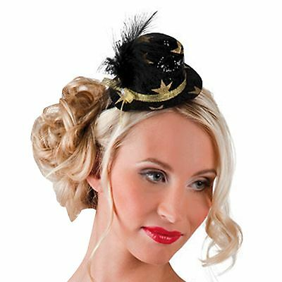 Black Gold Star VIP New Years Eve Christmas Party Headband Hat Fascinator Races